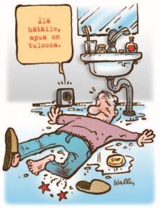 Lisätietoja vanhusten turvallisesta kotona asumisesta saa esimerkiksi Vanhustyön keskusliiton korjausneuvonnasta. Asumisen rahoitus- ja kehittämiskeskus ARA tukee ikääntyneiden kotona asumista helpottavien remonttien tekoa. Piirros Wallu.